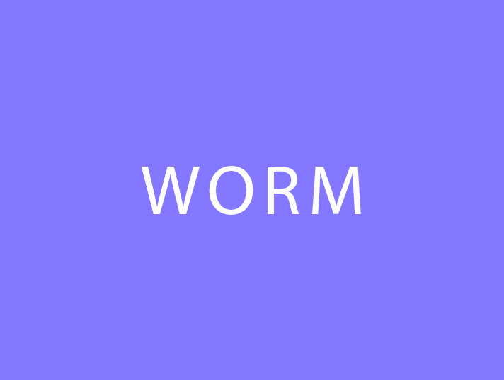 Fondo viola con scritta in maiuscolo Worm