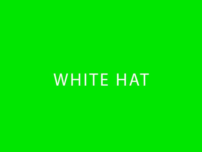 Testo White Hat su fondo verde.